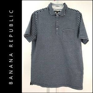 Banana Republic Men's Stripe Polo Shirt Medium